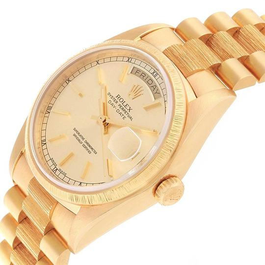 Rolex Rolex President Day-Date 36 Yellow Gold Bark Finish Mens Watch 18078 Image 4