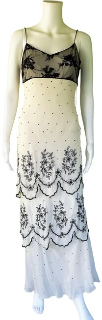 Item - Ivory Black Nocturne Silk Beaded Tiered Evening Gown Formal Dress Size 6 (S)