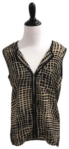 Lumiere Top Black and Tan print