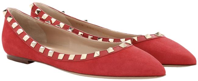 Item - Red Rockstud Rosso Suede Stud Pointed Toe Classic Ballet Ballerina Flats Size EU 39 (Approx. US 9) Regular (M, B)