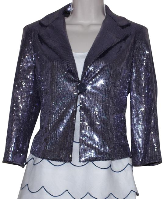 Item - Silver Cotton Blend Gray Sequin Cropped Blazer Size 4 (S)