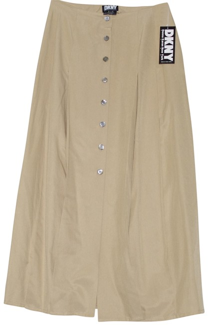 Item - Sand Silk Cotton Pleated Yellow Button Front Vintage Skirt Size 10 (M, 31)