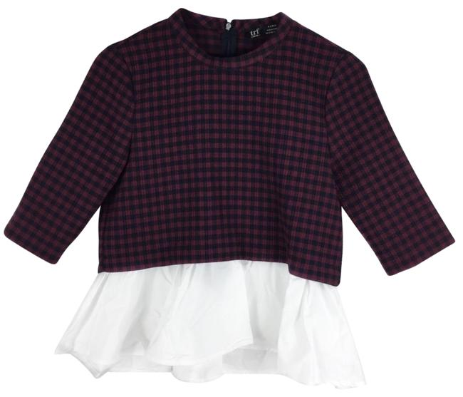 Item - Black Red White Trf Checkered Plaid Peplum Blouse Size 4 (S)