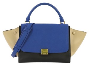 Céline Leather Tote in blue beige and black