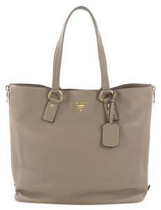 Prada Leather Tote in taupe