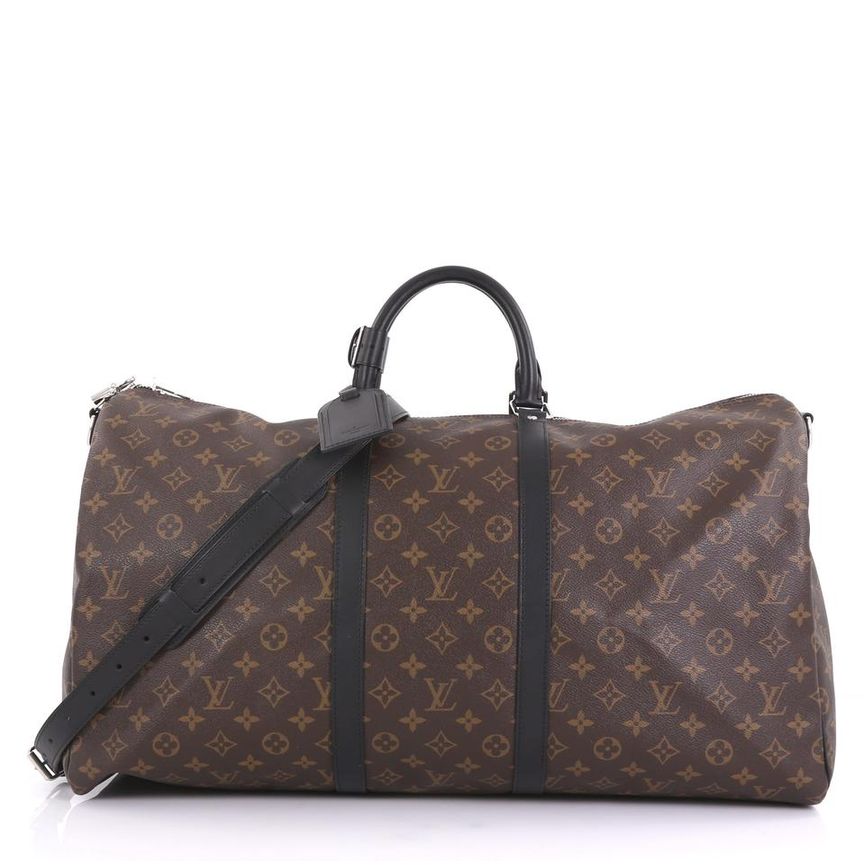 f80b98fc0 Louis Vuitton Keepall Bandouliere Macassar Monogram 55 Brown Canvas ...