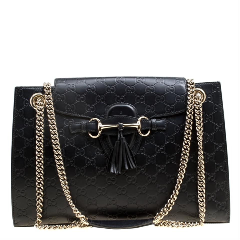 0841675a9df Gucci Emily Guccissima Large Chain Black Leather Shoulder Bag - Tradesy