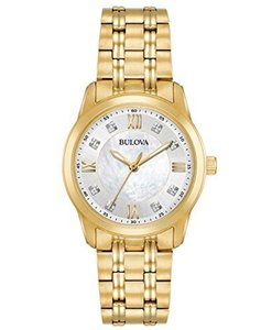 Bulova Bulova Women's Diamond Quartz Gold Tone Mother of Pearl Dial 97P118