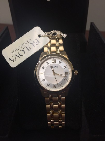 Bulova Bulova Women's Diamond Quartz Gold Tone Mother of Pearl Dial 97P118 Image 1