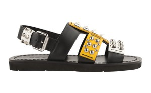 Prada Leather Rubber Silver Hardware Black Sandals