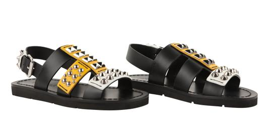 Prada Leather Rubber Silver Hardware Black Sandals Image 1