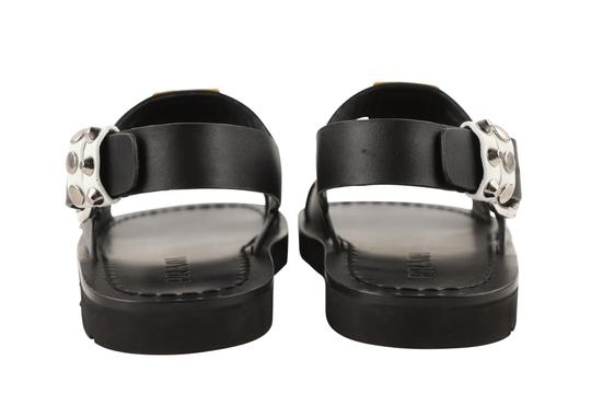 Prada Leather Rubber Silver Hardware Black Sandals Image 3
