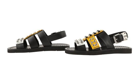Prada Leather Rubber Silver Hardware Black Sandals Image 4