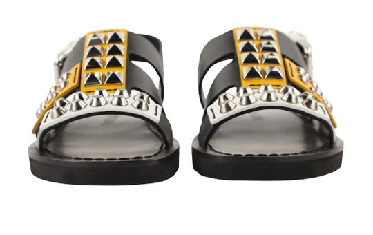 Prada Leather Rubber Silver Hardware Black Sandals Image 6