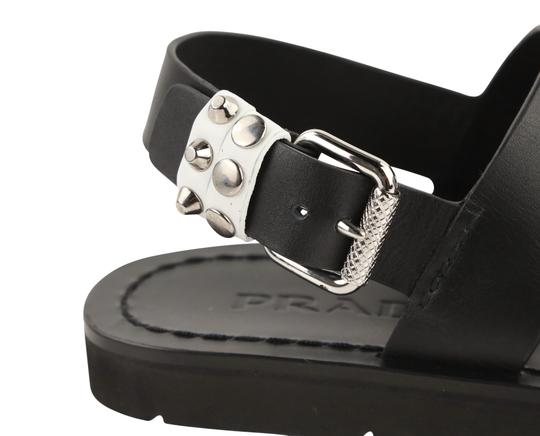 Prada Leather Rubber Silver Hardware Black Sandals Image 7