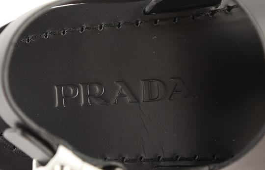 Prada Leather Rubber Silver Hardware Black Sandals Image 9