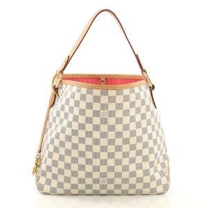 4d21dc7aea2 Louis Vuitton Graceful Checkerboard Blue White Tote Shoulder Bag