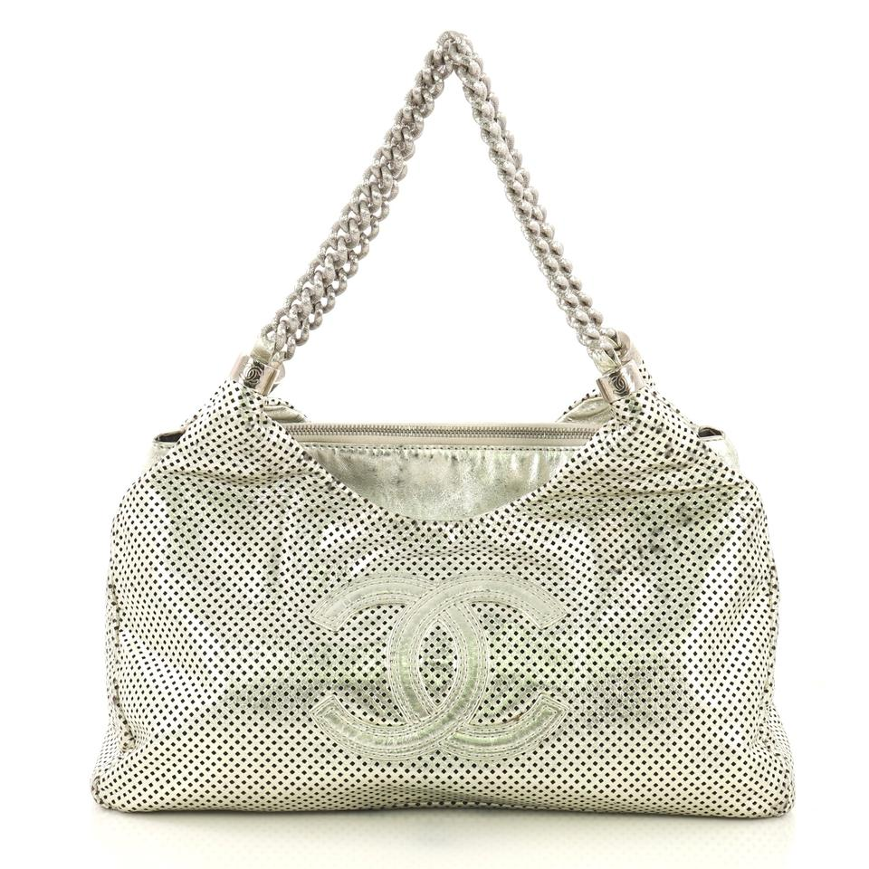 aacb9b92811c Chanel Hobo Rodeo Drive Perforated Small Silver Leather Hobo Bag ...
