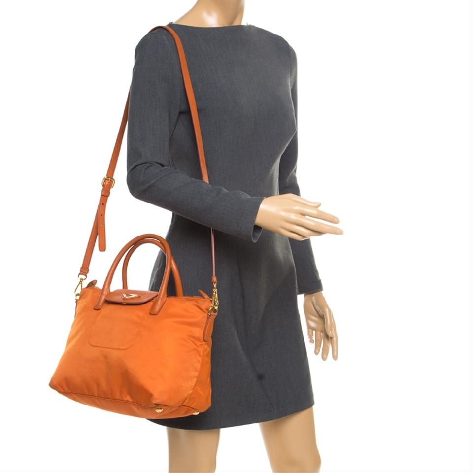 e00d6500d06f Prada Tessuto and Saffiano Convertible Orange Leather Tote - Tradesy