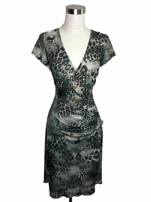 Item - Black Gray N135 Designer Small Mid-length Cocktail Dress Size 6 (S)