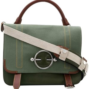 98da847e3fff J.W.Anderson 9djwst001 Vintage Canvas Leather Satchel in Green