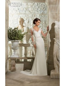 Mori Lee Ivory/Silver Lace 5303 Traditional Wedding Dress Size 8 (M)