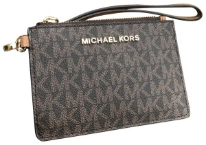aa04688df9e3 Michael Kors Michael Kors Jet Set Coin Wallet Wristlet ID Holder Signature  Brown