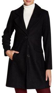 CeCe by Cynthia Steffe Pleated Bow Tie Pea Coat