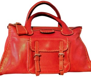 Chloé Edith Leather Vintage Satchel in Red