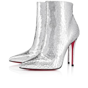 Christian Louboutin So Kate Nude Patent Patent Leather Silver Boots