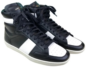 Saint Laurent Yves Leather High Top Sneakers Black Athletic
