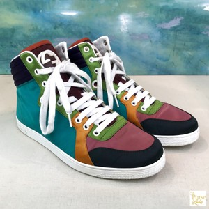 c9f57493b5f Gucci Multi-color Satin Lace Up High Top Rubber Sneakers Sale Sneakers Size  US 6.5 Regular (M