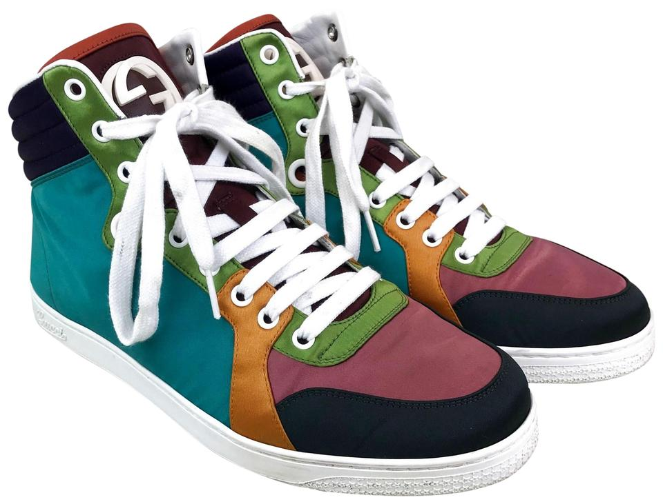 b6dd1c4b9 Gucci Multi-color Satin Lace Up High Top Rubber Sale Sneakers Size ...
