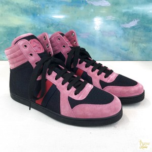 d7fe9bc5a3a Gucci Black Mesh Pink Suede Lace Up Mesh High Top Sneakers Sneakers Size US  6.5 Regular (M