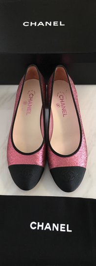 Chanel Patent Patent Leather Ballerina Pink Flats Image 1
