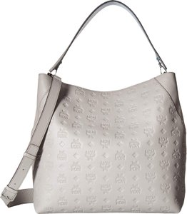 MCM Leather Logo Summer Tote in Gray