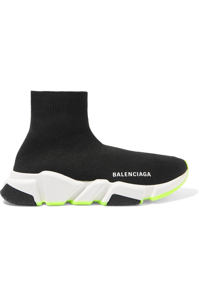 reputable site efe31 e532d Balenciaga Black and Neon Yellow Speed Trainers Sneakers