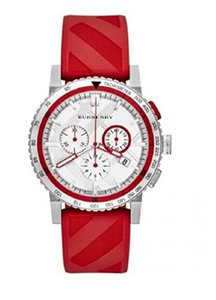 Burberry New Burberry Sport Swiss Red Rubber Chronograph Men's Watch BU9809