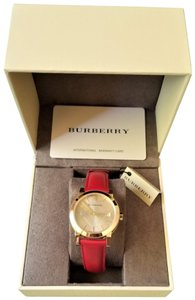 c8a635b93c3af Burberry New Burberry the City Gold Red Patent Leather Women Watch BU9140