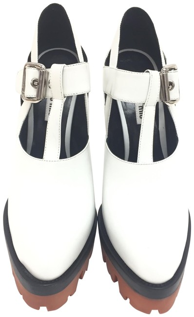 Item - White Leather Platform 5ip456 Pointed Toe High Heels Wedges Size EU 40 (Approx. US 10) Regular (M, B)