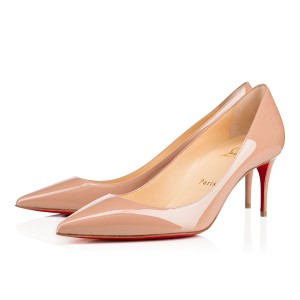 Christian Louboutin Patent Leather Heels Decollete Classic Nude Pumps