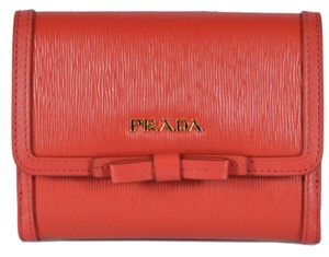 a74900c002f4 Prada New Prada 1MH523 Vitello Leather Small Bowtie French Wallet W/Coin