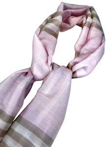 Burberry Burberry Pink Giant Check Silk Wool Long Gauze Scarf Women's SALE!