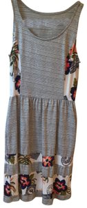 Maison Jules short dress heather grey with French white and floral accents on Tradesy
