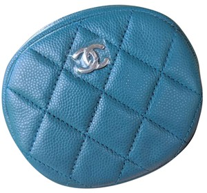 Chanel Quilted Teal Green Round Zip Around Zippy Coin Purse Accessories Pouch