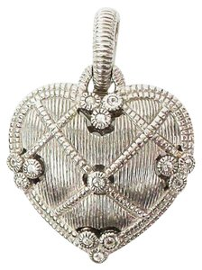 Judith Ripka Sterling Silver Etched Heart Pendant