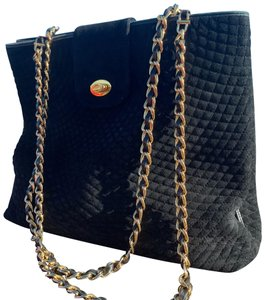 Bally Rare Vintage Quilted Tote Black