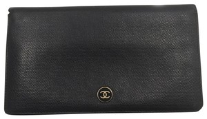 Chanel CHANEL Black Leather Long Bi-Fold Wallet