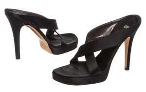 Vera Wang Satin Slides Platform Black Sandals