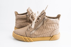 Giuseppe Zanotti Beige Croc-embossed Leather High-top Sneaker Shoes